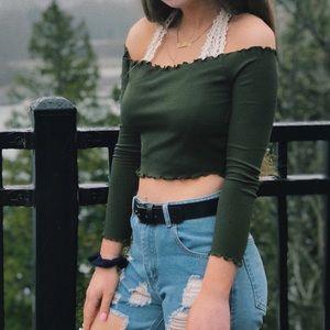dark olive green prettylittlething long sleeve